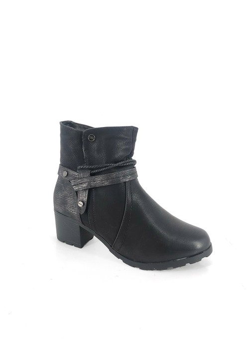Pamela Scott Black Block Heel Ankle Boot with Metallic Detail