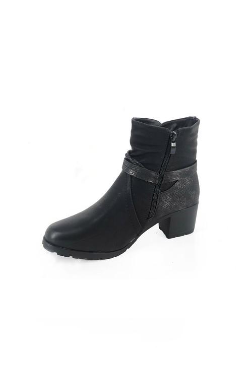 Pamela Scott Black Block Heel Ankle Boot with Metallic Detail