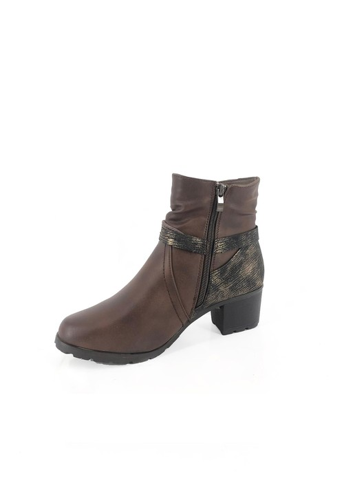 Pamela Scott Brown Block Heel Ankle Boot with Metallic Detail