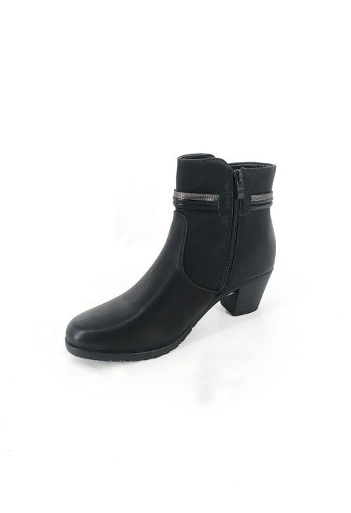 Pamela Scott Black Block Heel Ankle Boot with Pom Pom Detail