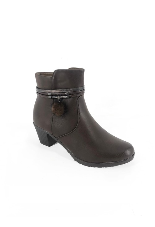 Pamela Scott Brown Block Heel Ankle Boot with Pom Pom Detail
