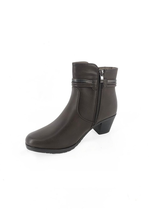 Pamela Scott Brown Block Heel Ankle Boot with Pom Pom Detail