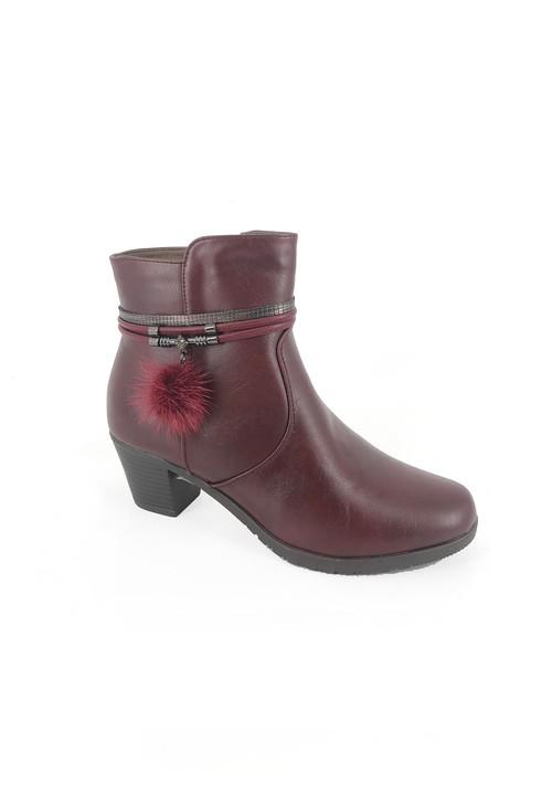 Pamela Scott Bordeaux Block Heel Ankle Boot with Pom Pom Detail