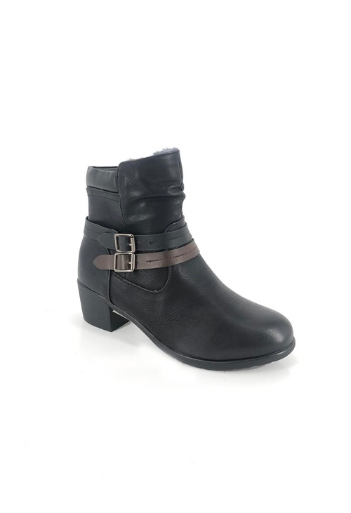 Shoe Lounge Black Block Heel Ankle Boot with Double Strap Detail