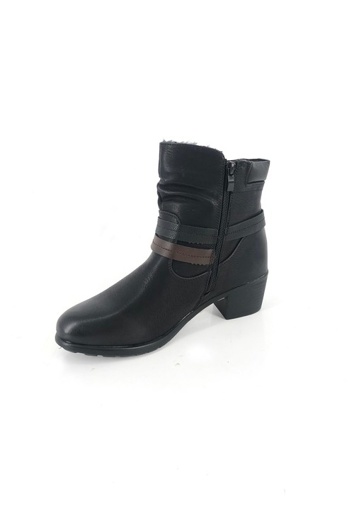 Pamela Scott Black Block Heel Ankle Boot with Double Strap Detail