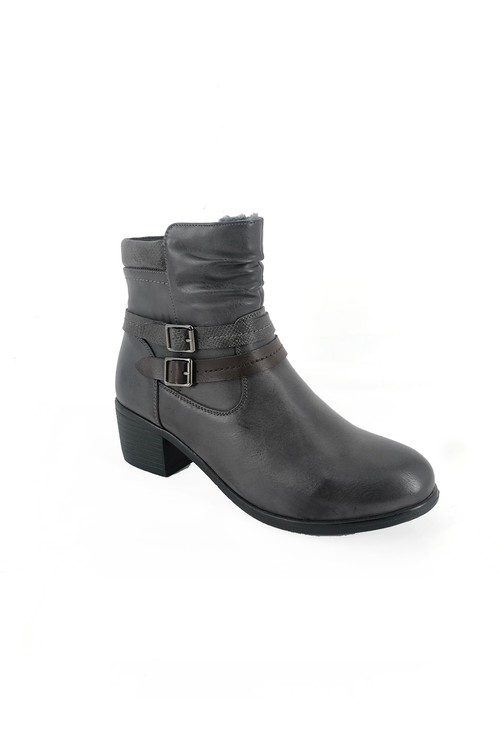 Pamela Scott Grey Block Heel Ankle Boot with Double Strap Detail