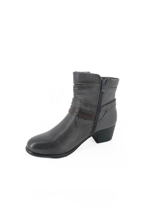 Pamela Scott Grey Block Heel Ankle Boot with Double Strap Detail
