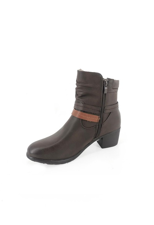 Pamela Scott Brown Block Heel Ankle Boot with Double Strap Detail