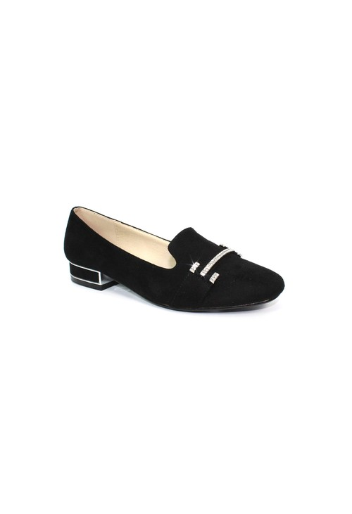 Lunar Black Flat Pump with Diamond Detail