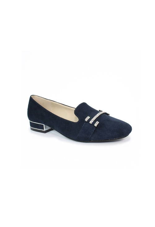 Lunar Navy Flat Pump with Diamond Detail