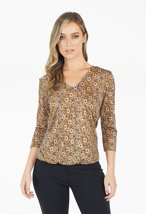 Zapara Khaki/Gold Pattern V Neck Top
