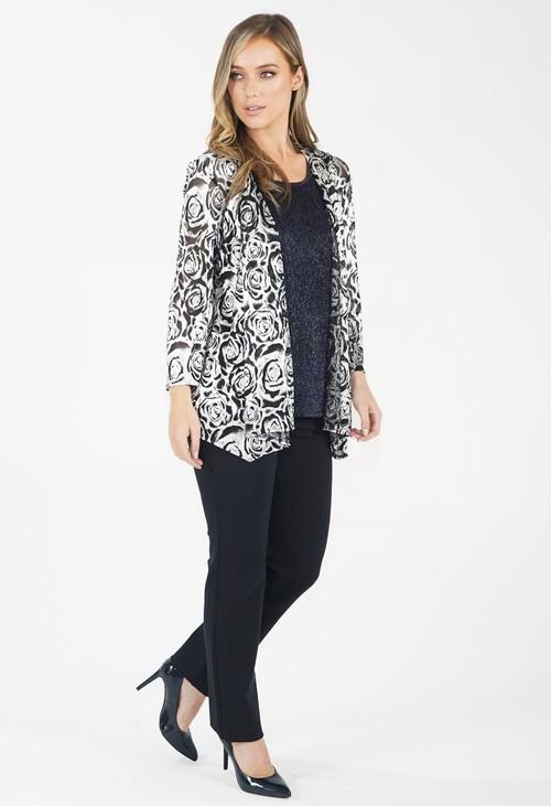 Pamela Scott Navy/Black Two Piece Metallic Top and Jacket Set
