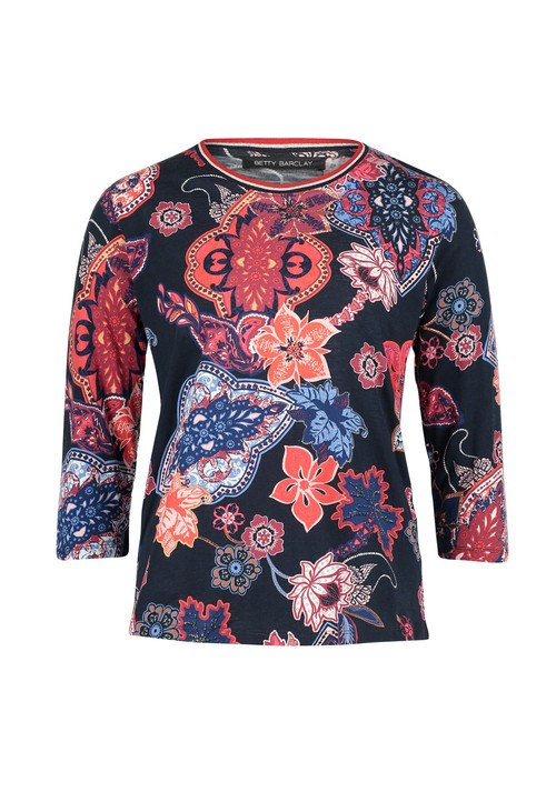 Betty Barclay Floral Print Ribbed Cuff Top