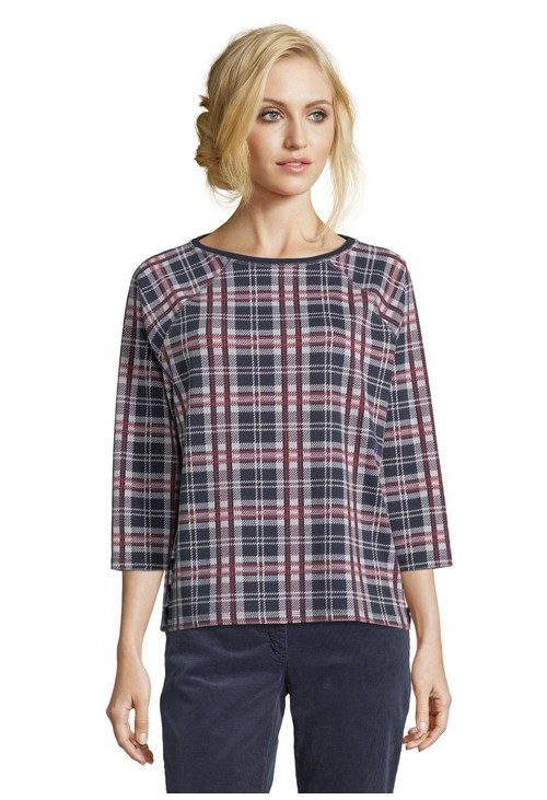 Betty Barclay Navy and Red Checked Top