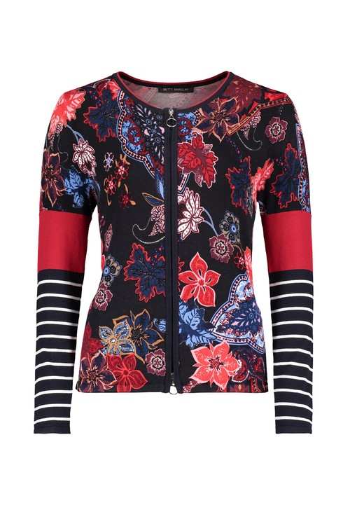 Betty Barclay Navy and Red Floral Fine Knit Cardigan