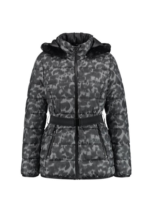 Gerry Weber Grey and Black Leopard Print Quilted Jacket