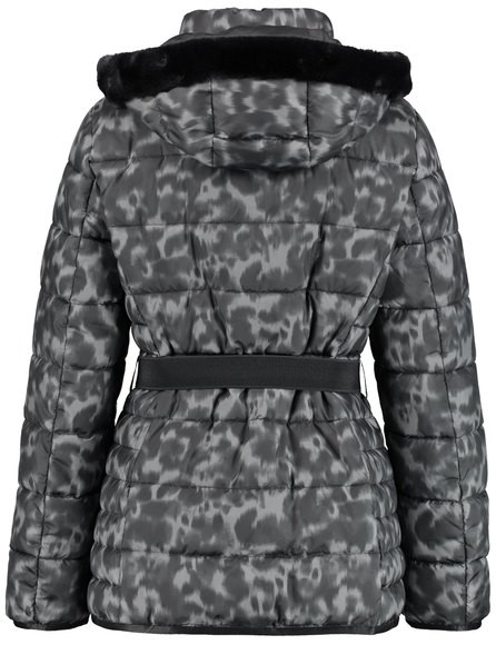 Betty Barclay Grey and Black Leopard Print Quilted Jacket