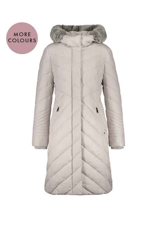 Gerry Weber Sand Longline Padded Coat with Hood