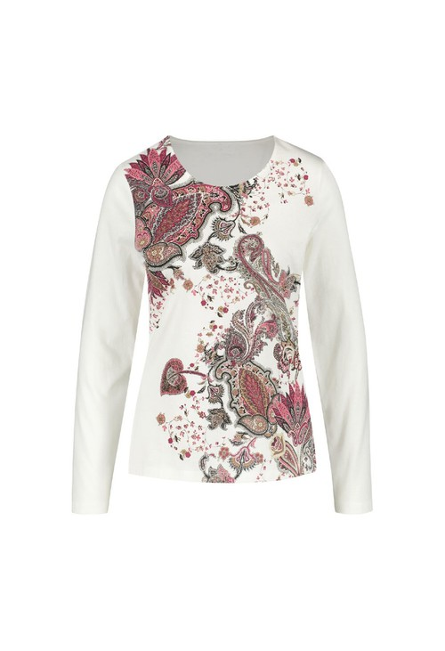 Gerry Weber White Long Sleeve Top With Paisley Print