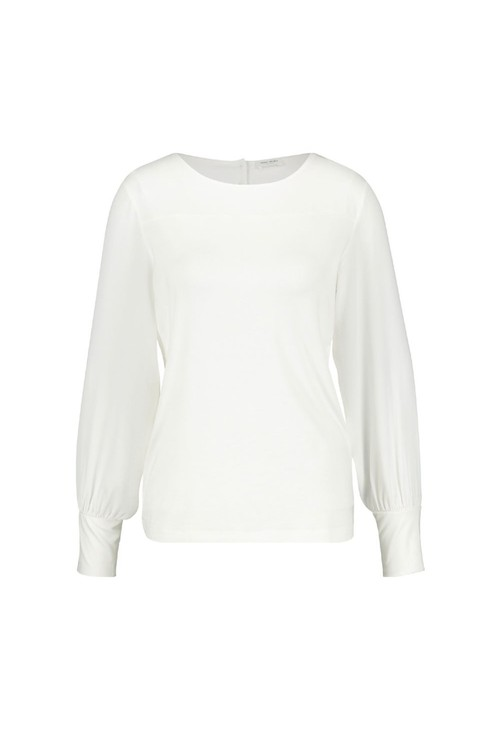 Gerry Weber Cream Round Neck Top With Cuff Sleeve Detail