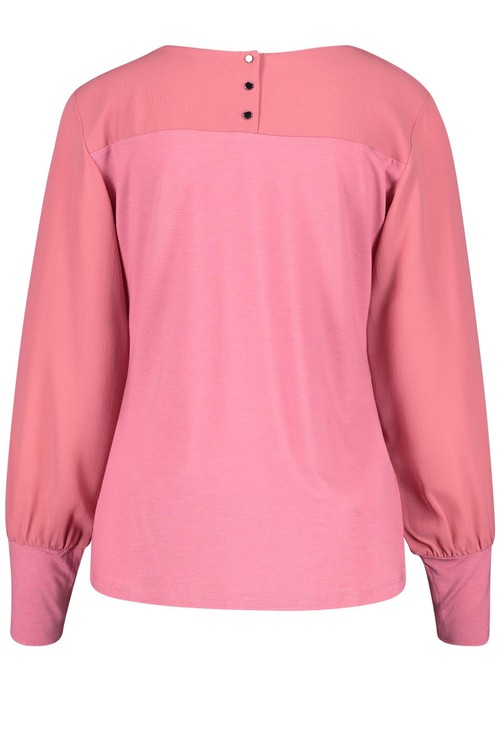 Gerry Weber Pink Round Neck Top With Cuff Sleeve Detail