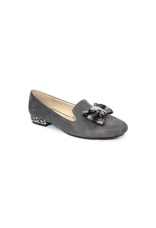 Lunar Grey Flat Pump with Bow Detail