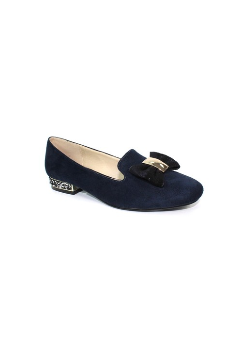 Lunar Navy Flat Pump with Bow Detail