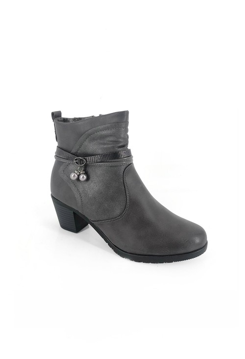 Pamela Scott Grey Block Heel Ankle Boots