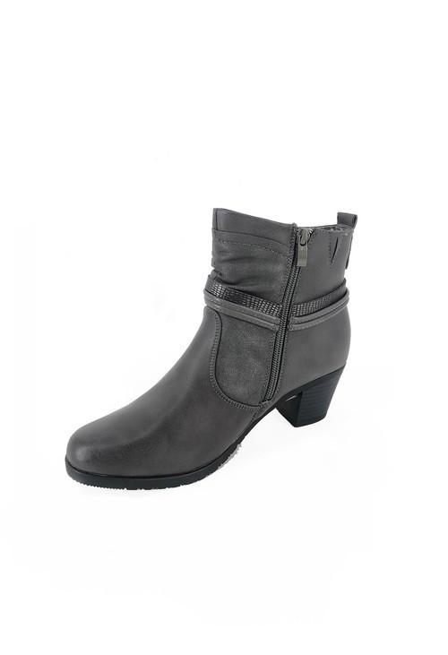Pamela Scott Grey Block Heel Ankle Boots