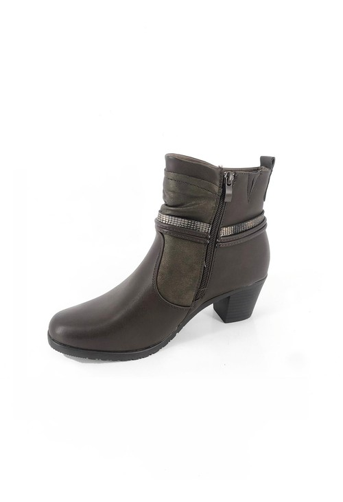 Pamela Scott Brown Block Heel Ankle Boots