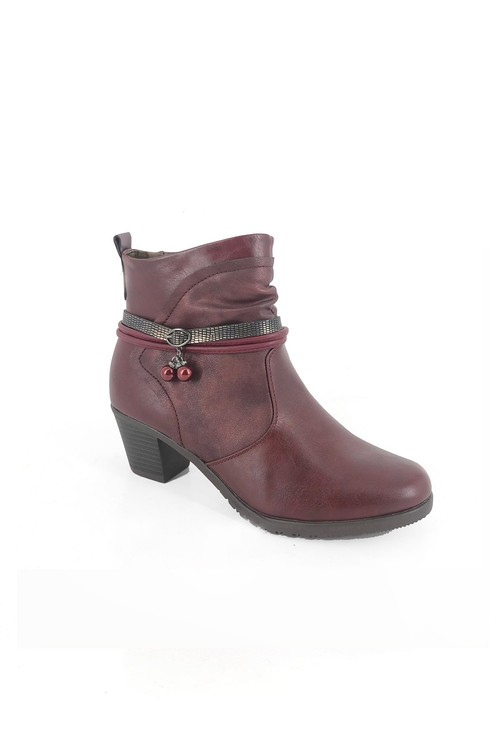 Pamela Scott Red Block Heel Ankle Boots