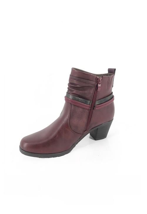Pamela Scott Red Block Heel Ankle Boots