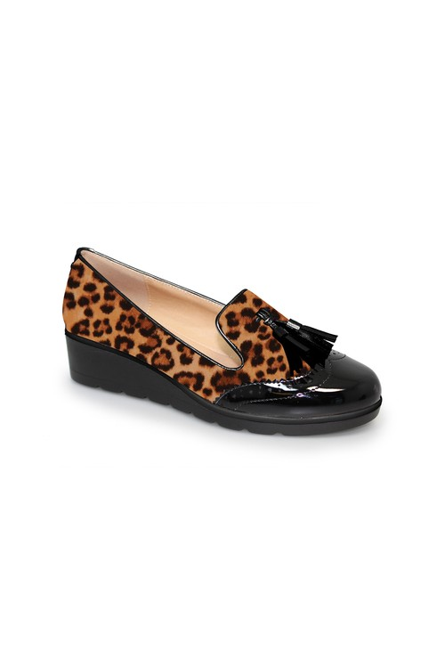 Lunar Leopard Print Low Wedge Tassel Loafer
