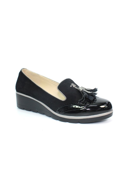 Lunar Black Patent Low Wedge Tassel Loafer