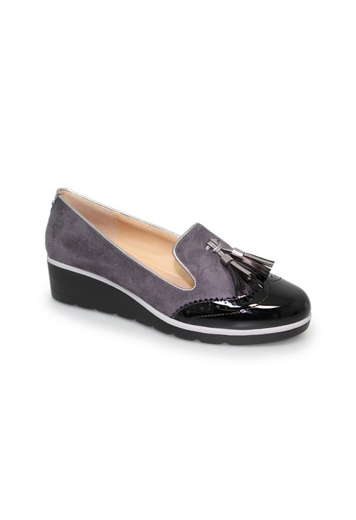 Lunar Dark Grey Low Wedge Tassel Loafer