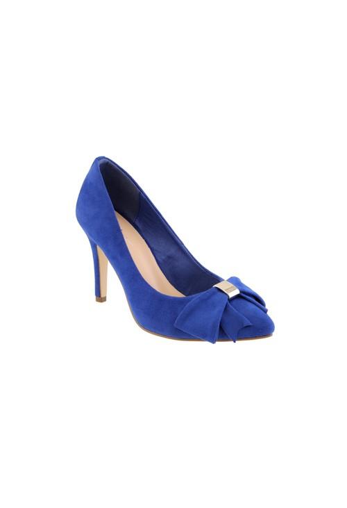 Barino Cobalt Blue High Heel Court Show with Bow Detail
