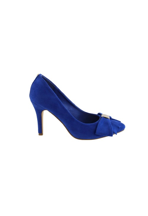 Barino Cobalt Blue High Heel Court Show with Bow Detail