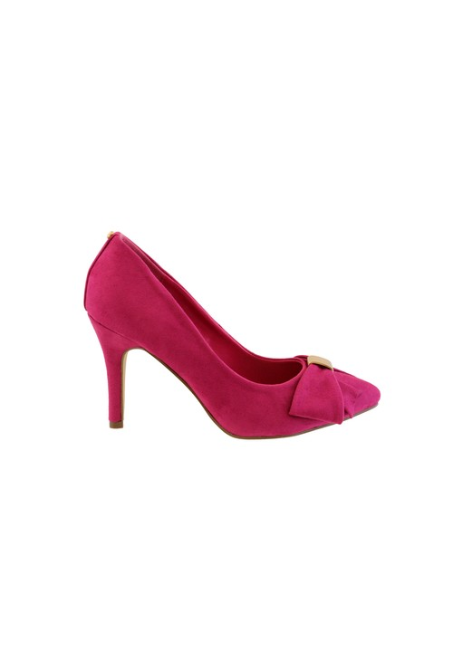 Barino Fuchsia High Heel Court Shoe with Bow Detail