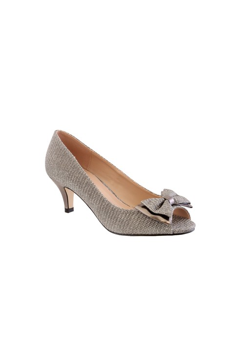 Barino Silver Kitten Heel Peep Toe Court Shoe with Bow Detail