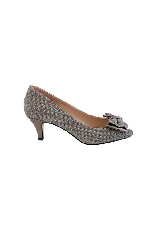 Barino Silver Kitten Heel Peep Toe Court Shoe with Bow Detail