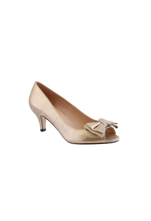Barino Gold Kitten Heel Peep Toe Court Shoe with Bow Detail
