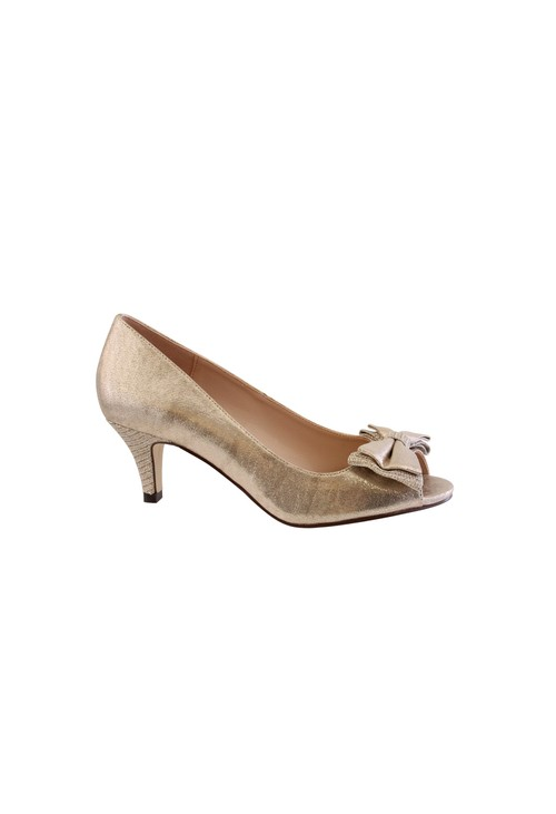 Barino Gold Kitten Heel Peep Toe Court Shoe with Bow Detail