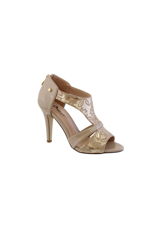 Barino Beige Metallic High Heel Peep Toe Shoe