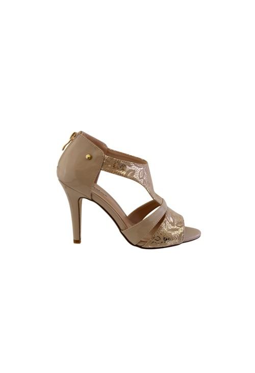 Barino Beige Metallic High Heel Peep Toe Shoe