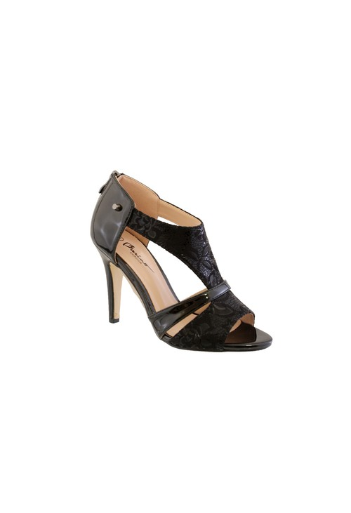 Barino Black Metallic High Heel Peep Toe Shoe