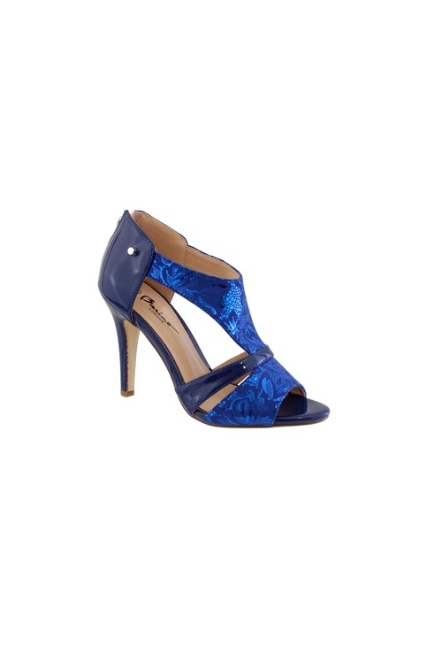 Barino Blue Metallic High Heel Peep Toe Shoe