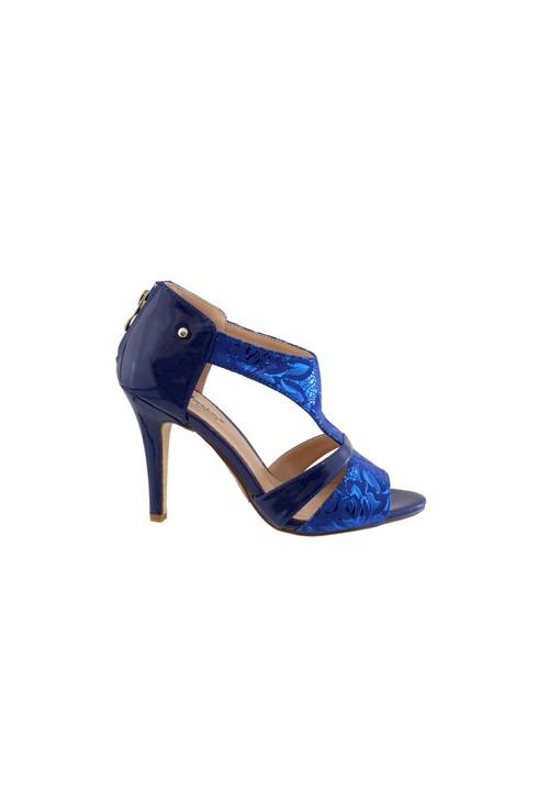 Barino Blue Metallic High Heel Peep Toe Shoe