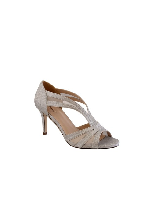 Barino Silver Mid Heel Peep Toe Shoe with Mesh Detail