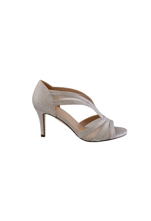 Barino Silver Mid Heel Peep Toe Shoe with Mesh Detail