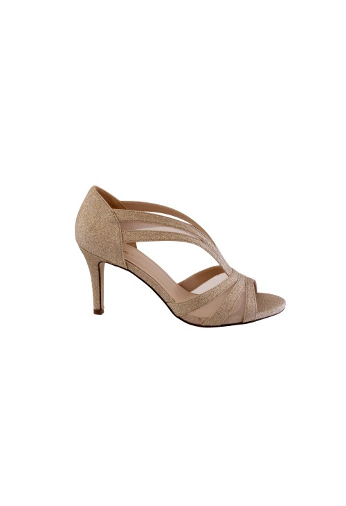 Barino Gold Mid Heel Peep Toe Shoe with Mesh Detail